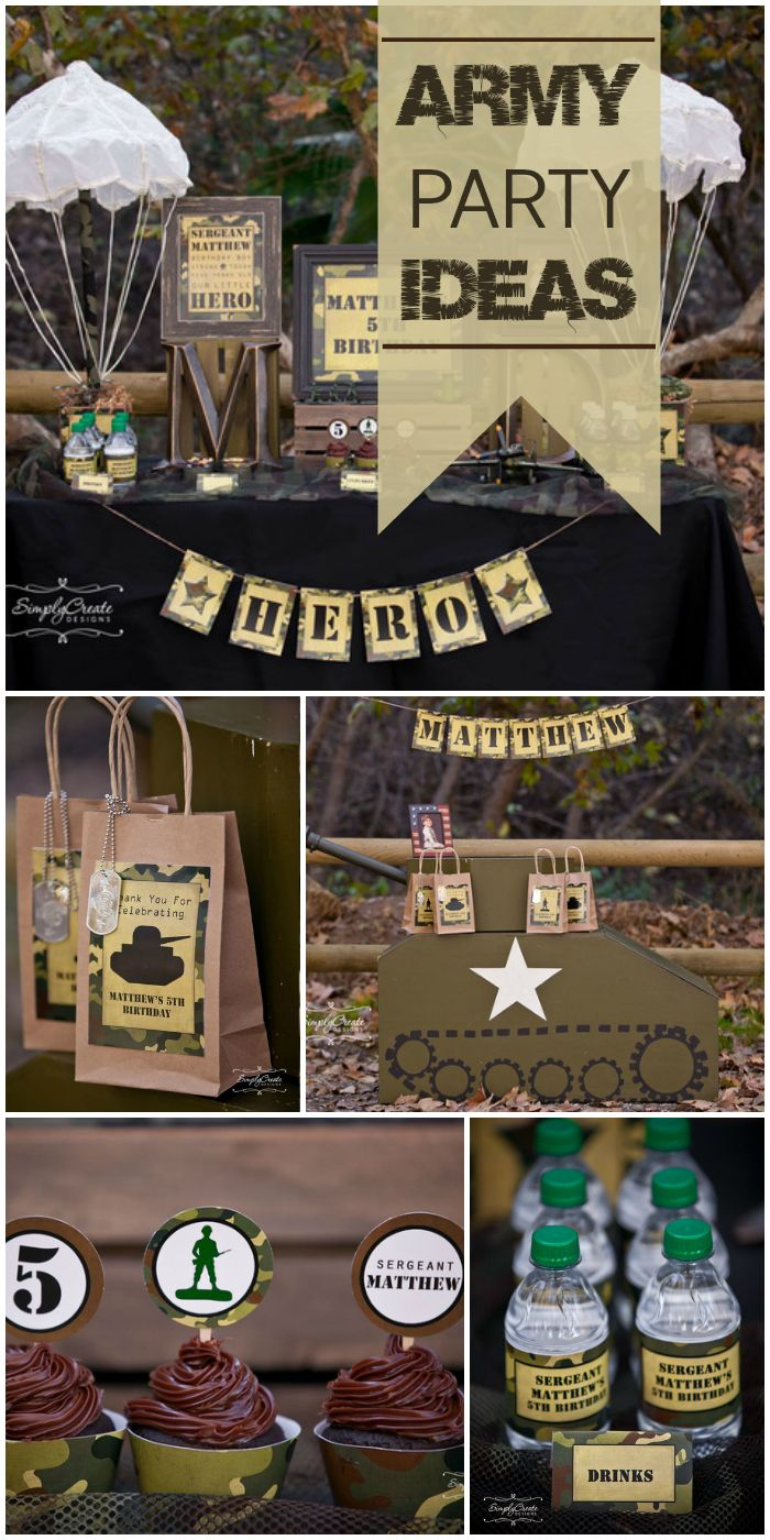 What a great Army party for a five year old boy with lots of camouflage party decorations! See more party ideas at CatchMyParty.com!