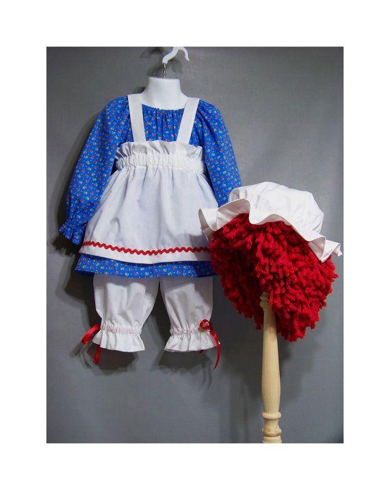 RAGGEDY ANN Girls Size 2 3 Rag Doll 5 Piece Costume Wig Ready to Ship