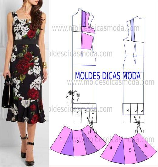 Faça a analise de forma detalhada do desenho do molde vestido. Vestido simples e arrojado que veste de forma muito elegante.