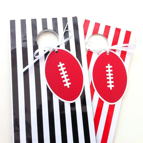 Australian Football Gift Tags. Football shape - Aussie rules footy. Red & white.