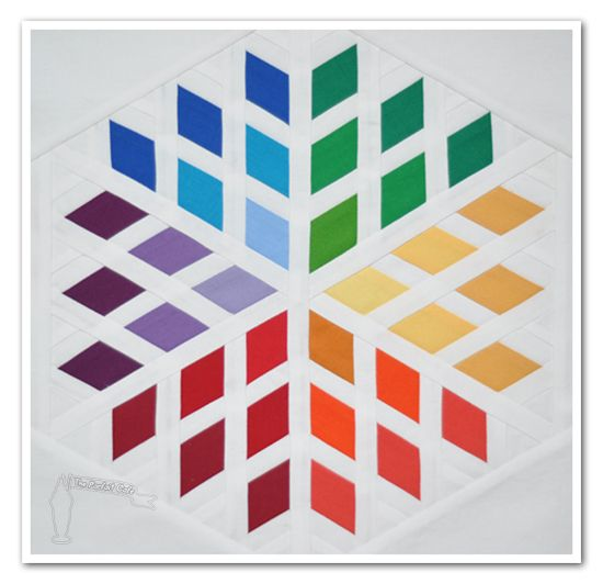 Rainbow Diamond Blossom: Diamonds Quilts Patterns, Rainbows Colour, Stars Patterns, Diamonds Blossoms, Quilts Blocks, Colors Wheels, Blossoms Blocks, Blossoms Quilts, Paintings Chips