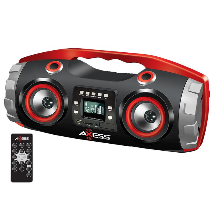 Portable FM Radio CD/MP3/USB/SD Boombox with Heavy Bass and Bluetooth-Red – ResellerHub.store
