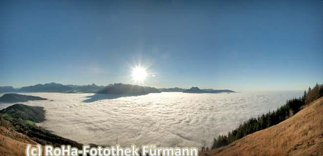 Ein wunderbar sonniger Nachmittag auf dem Gaisberg hoch über dem Nebel über Salzburg ....mit dem Blick hinaus über Untersberg und den Hochstaufen in den Nebel über dem Rupertiwinkel...
