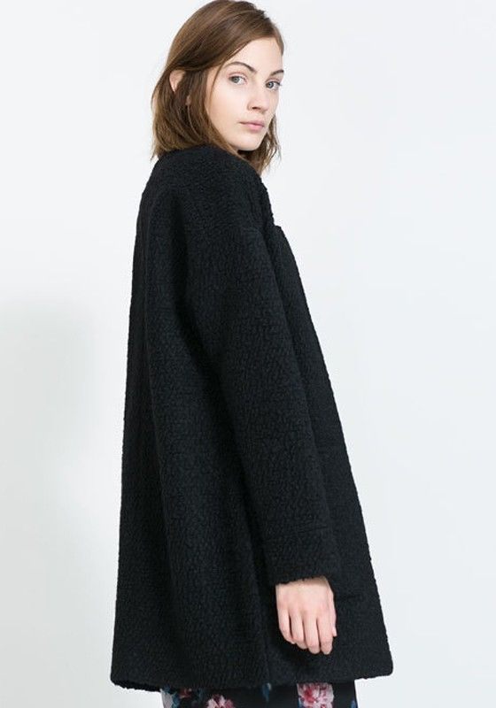 Black Zipper Round Neck Thick Dacron Wool Coat