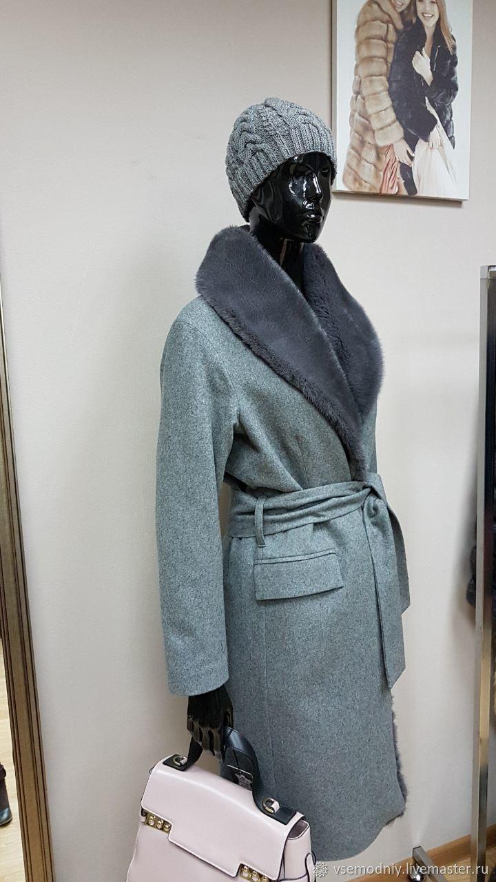 Пальто зимнее серое с мехом норки - купить или заказать в интернет-магазине  на Ярмарке Мастеров  495c9f2058404
