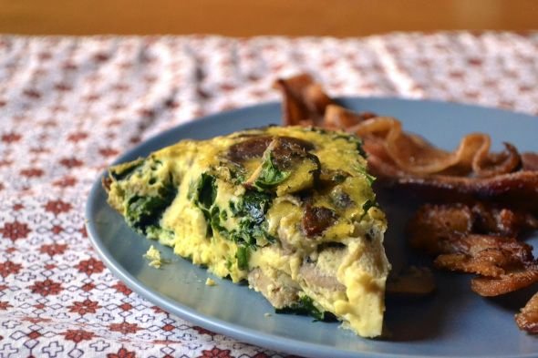 Mushroom, Spinach and Sausage Crustless Quiche - make substitutions to ...
