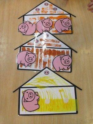 Huisje van stro: schilderen met gele verf en een vork Huisje van steen: stempelen met een duplo- blokje Huisje van hout: bruine strookjes kleven