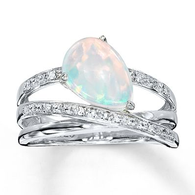 Lab-Created Opal Ring With Diamonds Sterling Silver- This would be the best engagement ring ever.