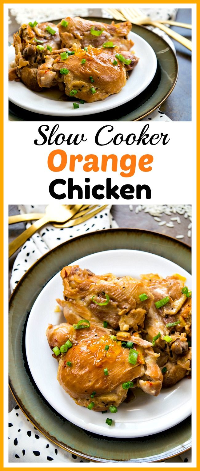 Slow Cooker Orange Chicken- This slow cooker orange chicken is just as tasty as the orange chicken you'd get if you ordered Chinese food out, but is much healthier! | Crock-Pot, dinner, homemade Chinese food, Asian, poultry, recipe