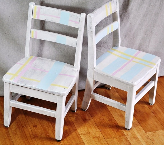 Kid's Painted Chairs Pastel Plaid Shabby Chic by TheVelvetBranch, $59.00: Kids Paintings Chairs
