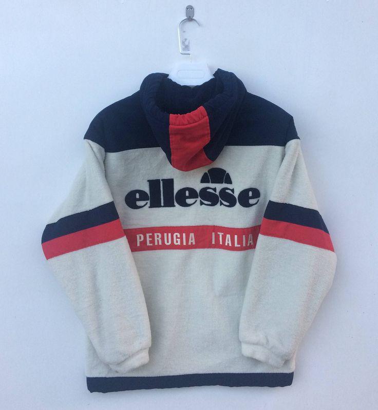 Vintage ELLESSE ITALY Jacket Large 90's Ellesse Perugia Sports All Over Floral print Activewear Bomber Hoodie Ski Jacket Size L GTHyOA
