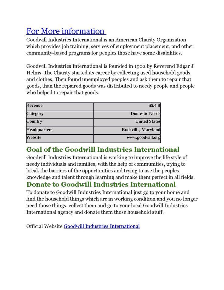 Goodwill industries international  http://www.charitiestodonate.com/goodwill-industries-international-charity/