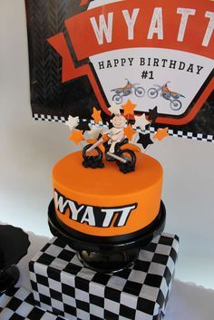 Motorcycles Birthday Party cake! See more party planning ideas at CatchMyParty.com!