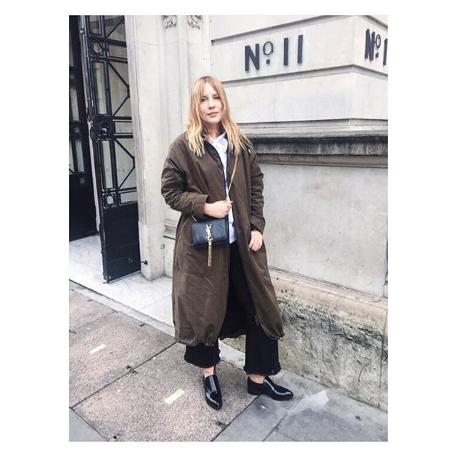 Ina Lekiewicz spotted wearing the @ZurbanoOfficial Black Loafer Shoes at #Londonfashionweek
