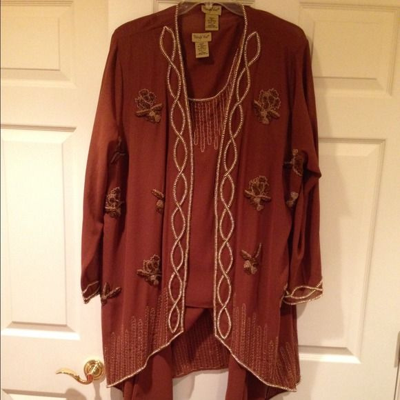 Formal pant suit Rich brown with detailed sequins pant formal outfit. Three pieces, never worn. Jackets & Coats