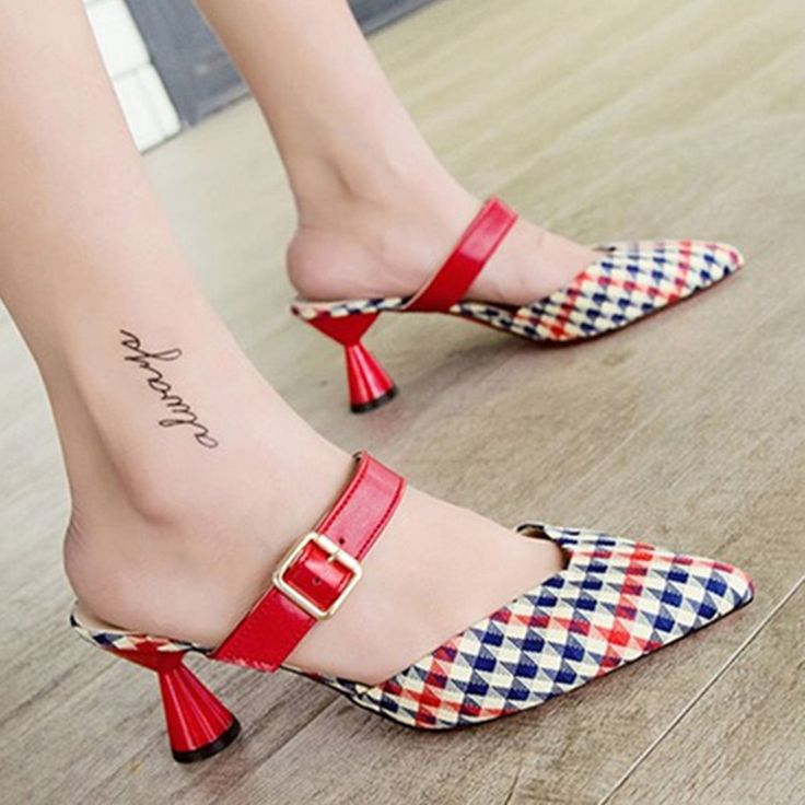 2018women slippers high heels slides comfort mules pointed toe sandals women outside summer slippers heels korea designer slides