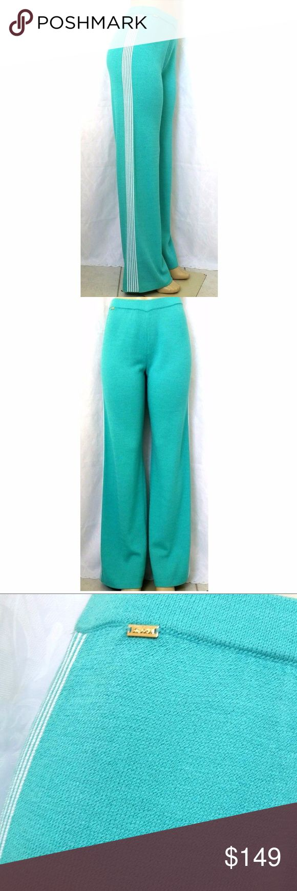 """ST JOHN SPORT Knit Pants Track Aqua White Side St John Sport relaxed leg pants.  - Flat front, 1.5"""" wide elastic waistband - Six white stripes on each side - A gold -tone signature plate at the right side under the waist band - Wide leg - Santana knit - 61% Wool, 39% Rayon - Color on the tag: Opal / Bright White - Size on the tag: P, but please note, that these are extra long pants with an inseam of 34"""" - Waist: 13"""" - Hips: 19"""" - Rise: 10"""" - Leg opening: 11""""  Measurements were made with…"""