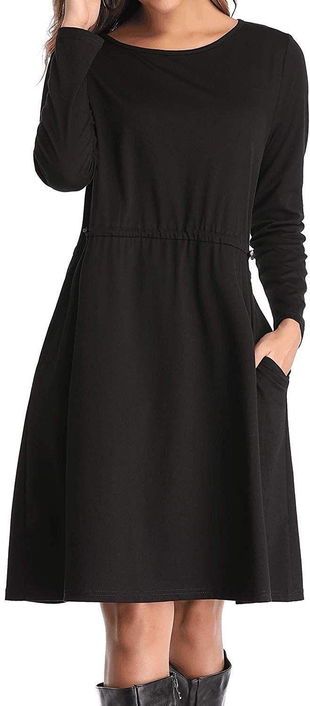Donnalla Womens Dresses Elastic Pockets Long Sleeve Casual Dress Casual Women Long Sleeve Dress [ 1500 x 659 Pixel ]