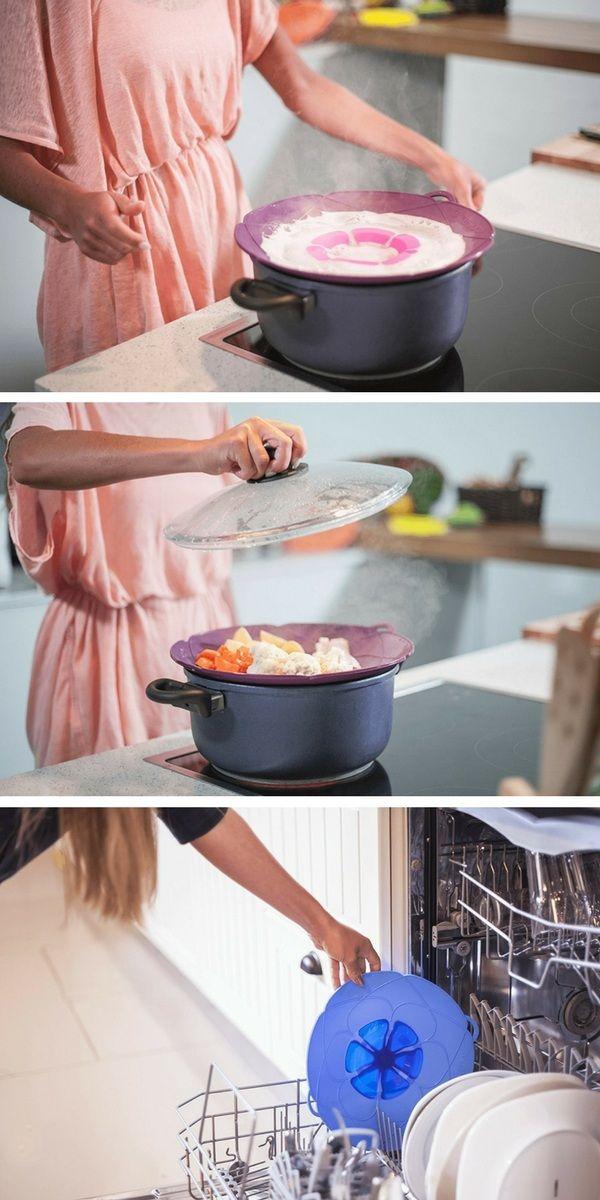 Le couvercle anti-débordement Kochblume est un ustensile pratique et multifonctions pour la cuisine. Il peut également être utilisé pour cuire à la vapeur, ou pour protéger votre micro-ondes des éclaboussures. Il est facile à nettoyer et passe au lave-vaisselle.