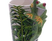 Coffee Mug Ceramic Jungle Cup with Tree Frog Handle New Gift Idea