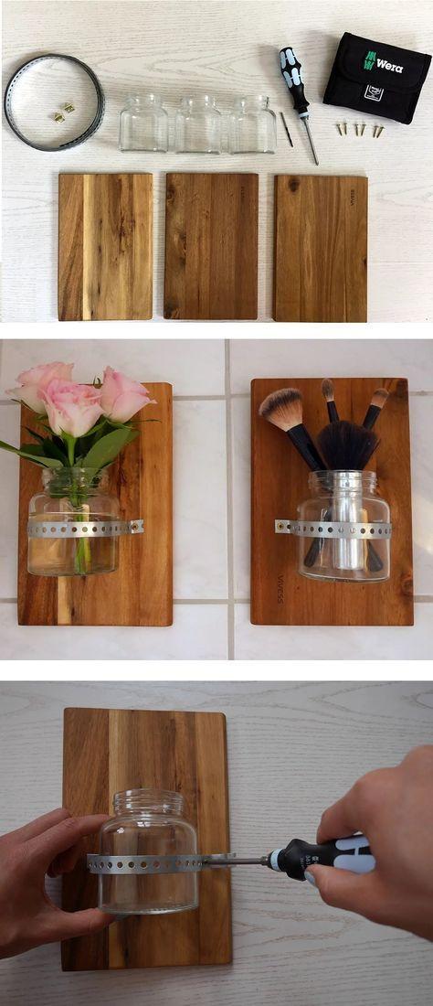 Mein tolles DIY Projekt: selbstgebasteltes DIY Deko Regal aus einem Holzbrett, Lochband und einem Glas. Nützlich & schön zugleich. Die Schritt-für