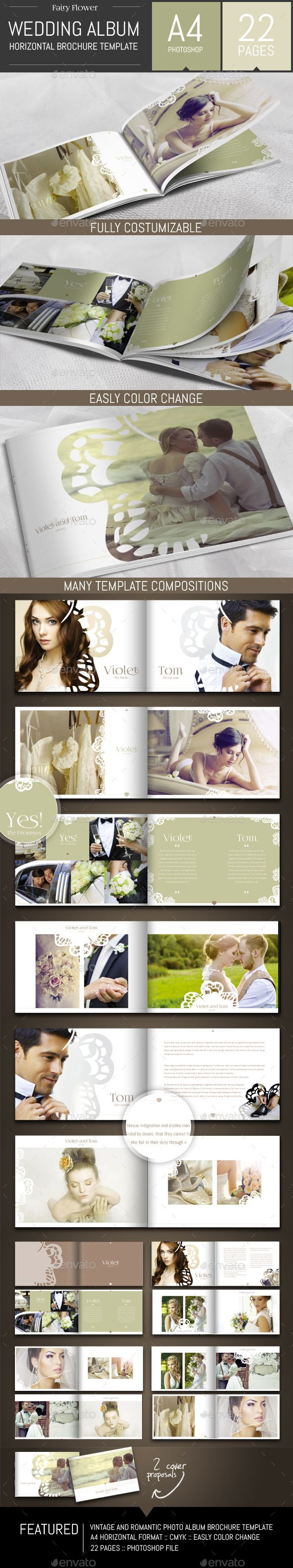 Wedding Photo Album Horizontal Brochure Template - Photo Albums Print Templates