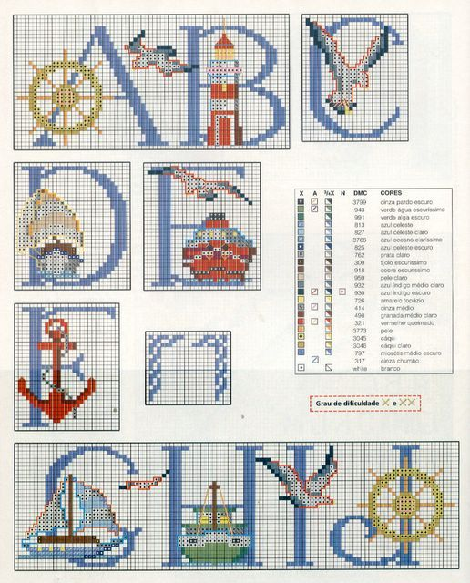 Schema Punto Croce Alfabeto Nautico 1Crafts Crosses Stitches, Croce Alfabeto, Lettre Motif, Alphabet Nautique, Crosses Stich, Cross Stitches, Alfabeto Nautico1, Abc Mer, Motif Mer