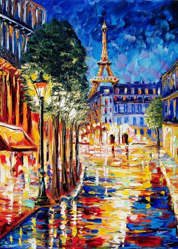 Paris Painting  Print Paris  RAINY NIGHT Fine Art Print B. Sasik. $20.00, via Etsy.