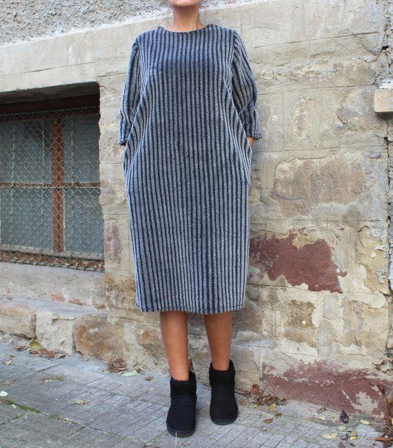 Faux Fur Midi Dress / Grey dress / Womens Maxi Dress with Pockets / Winter Clothing / Below the Knee Dress / Extravagant Dress for Women