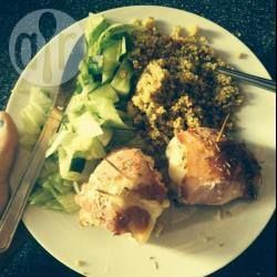 Stuffed chicken breasts wrapped in bacon @ allrecipes.co.uk... Mmmmmmmm!