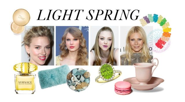 """light spring"" by stylist-vera on Polyvore featuring SCARLETT, Gwyneth Shoes, Versace, Christian Dior, Pier 1 Imports, Allurez, Spring, coloranalysis, lightspring and type1"