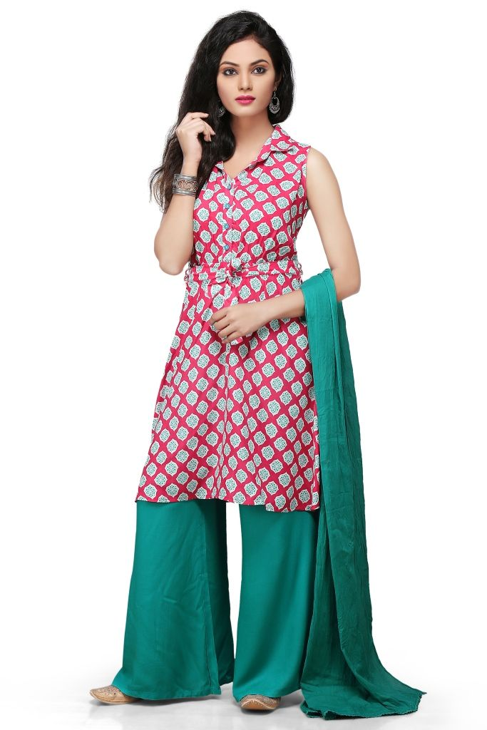 White and red shaded readymade cotton plazzo suit