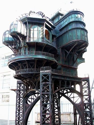 """Steampunk treehouse, built for the movie """"City of Lost Children,"""" 1995."""