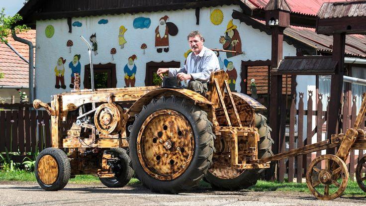 VIDEO. Il Construit Un Tracteur En Bois de Pin
