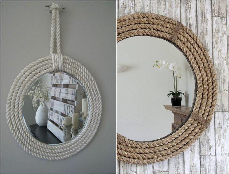 cadre miroir en corde - une belle idée de décoration marine