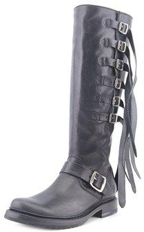 Frye Veronica Strap Tall Round Toe Leather Knee High Boot.