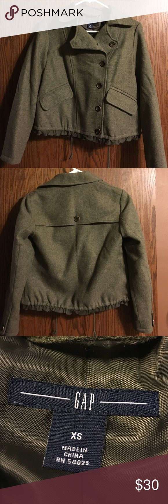 Olive Green Wool Gap Jacket Beautiful wool jacket with side buttons. In perfect condition, never worn. Has silk-like lining and draw string bottom. GAP Jackets & Coats Pea Coats