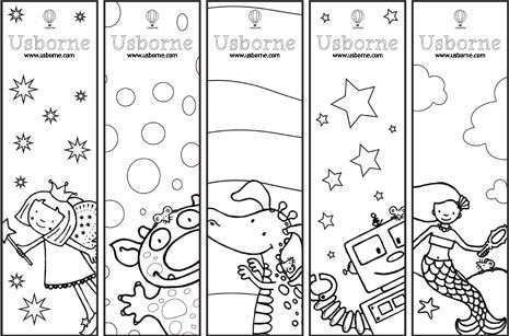 Here are some bookmarks and bookplates to print out and colour.