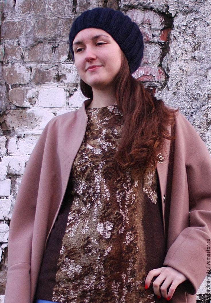 Купить Туника валяная топ бежево-коричневая с шелком - песочный, песочный цвет, золотисто-коричневый