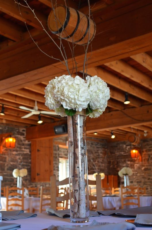 Weddings & Events - Fleur&Sense Tall centerpieces with birch and hydrangeas