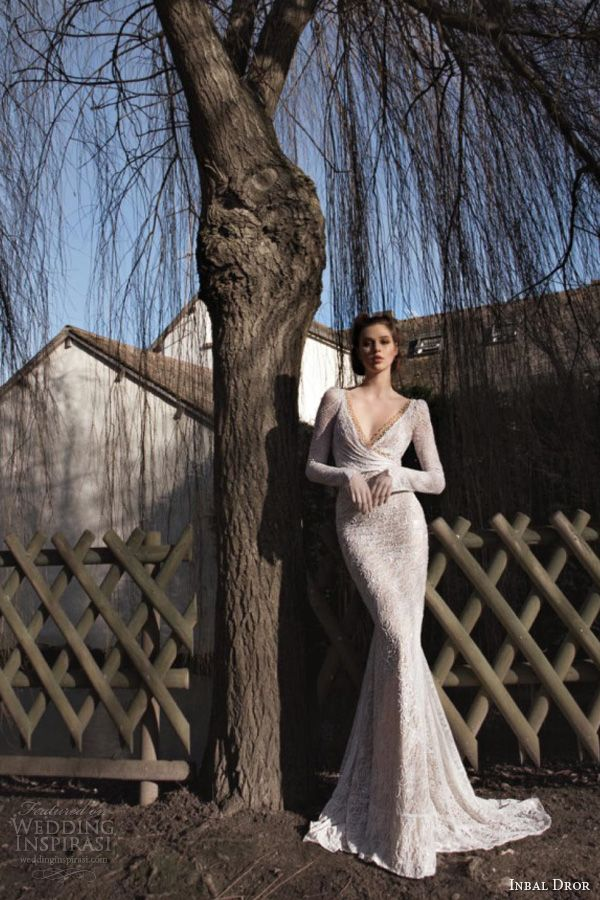 inbal dror 2013 bridal long sleeve wedding dress lace