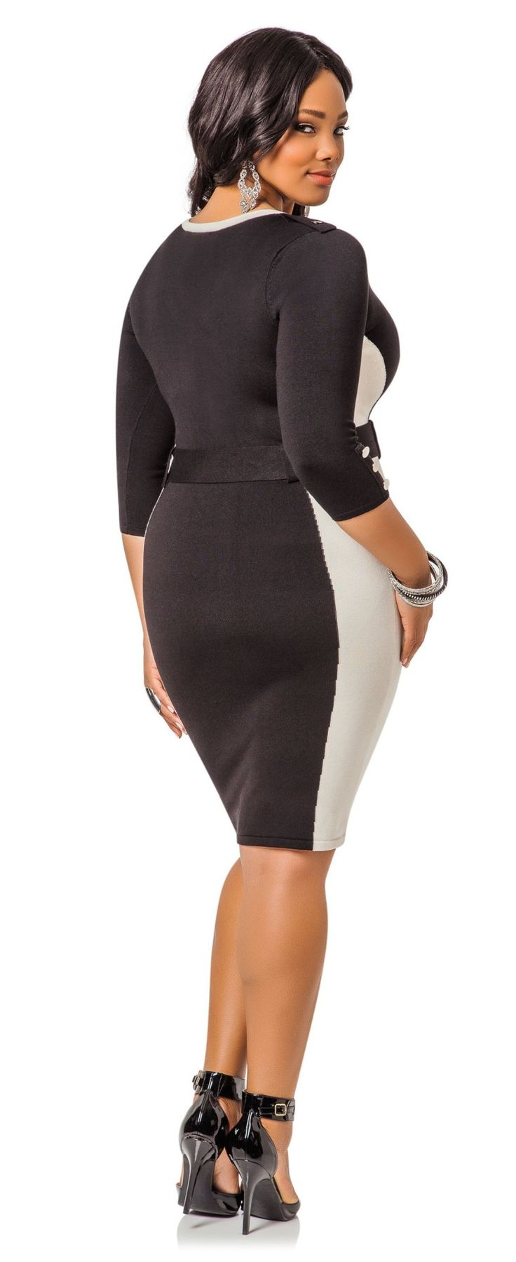 Anita Marshall in Ashley Stewart Colorblock Belted Sweater Dress