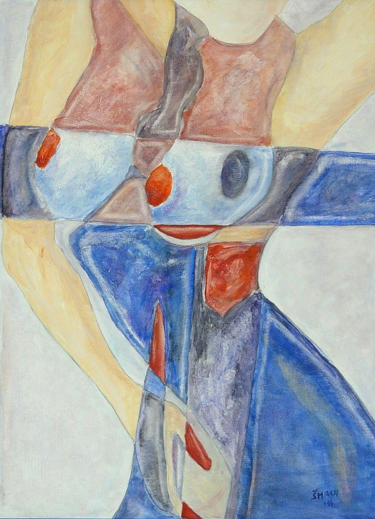 Červený palec, 2014 Akryl na plátně 56,5 x 41,5