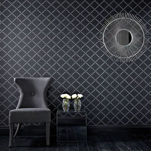 Quantum Black and Silver Wallpaper, , large