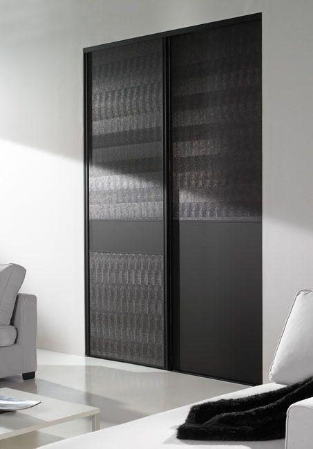 Diamant noir mat, 1 vantail modèle trio ruban et 1 vantail duo, leguan noir et vitre Contrast black