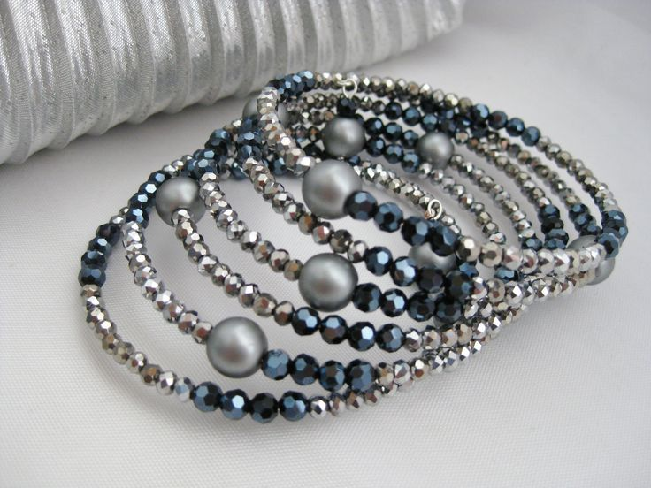 Silver And Black Bracelet Memory Wire Gray Gift