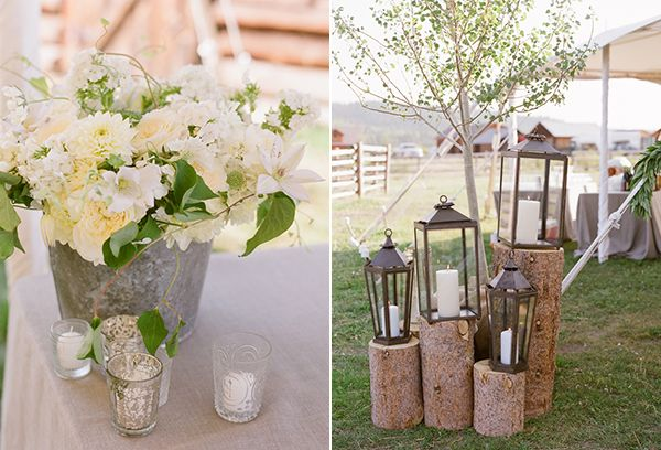 lanterns on wood blocks and galvanized buckets