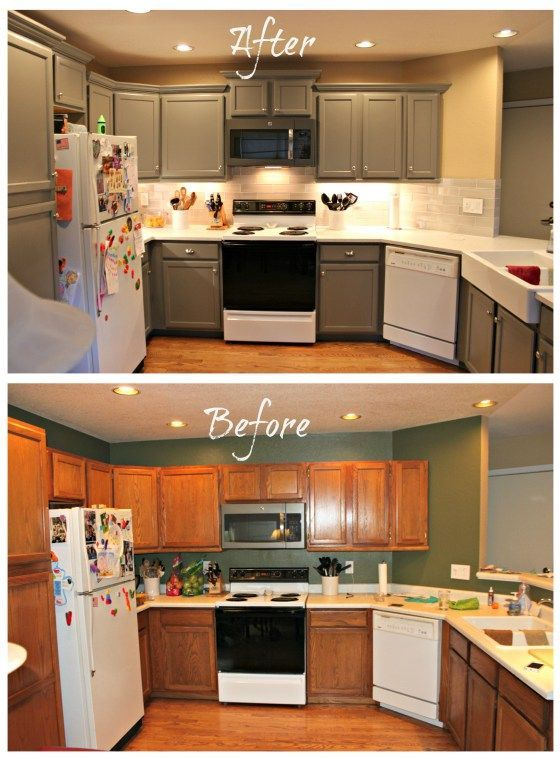 DIY Kitchen Remodel. Painted oak cabinet remodel before and after. I grain filled oak cabinets and painted them.  I raised the cabinets over the refrigerator and microwave for a variable height cabinet look and added crown molding to the cabinets.  I removed a pony wall and added more seating.  I added an IKEA farmhouse sink and a glass subway back splash.