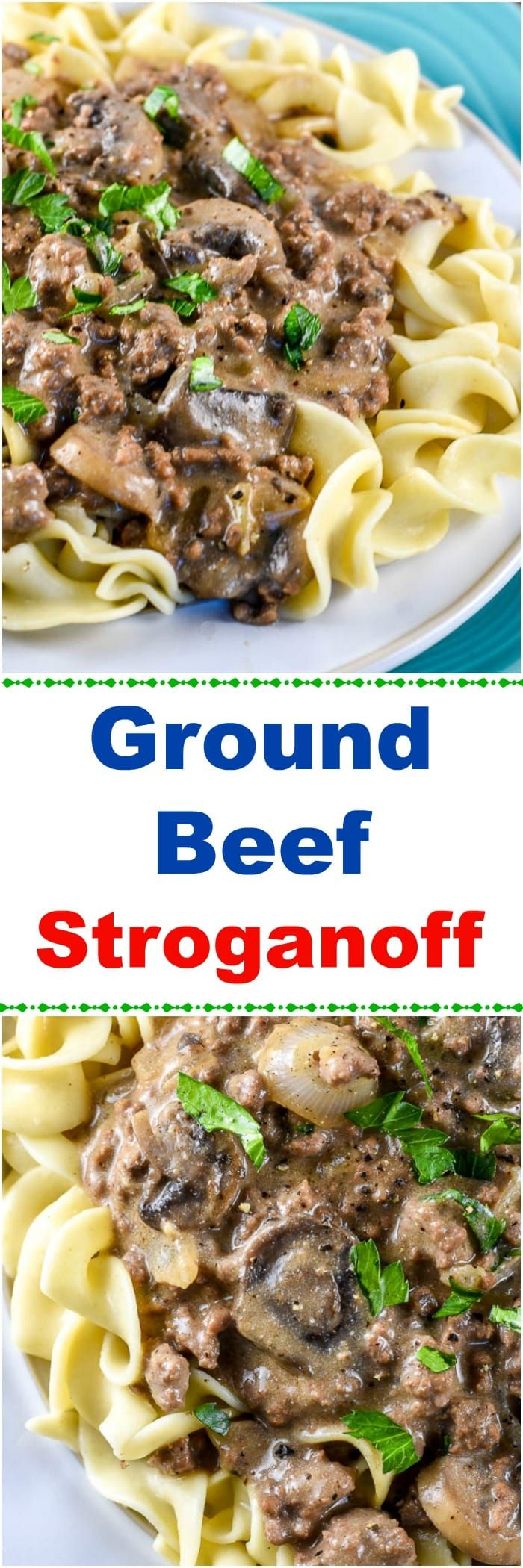 This from-scratch Ground Beef Stroganoff recipe is a variation of the classic Beef Stroganoff that uses ground beef instead of steak and omits the cream of mushroom soup, and instead, adds sherry, beef broth, dijon mustard, and sour cream for the sauce or gravy.    This Beef Stroganoff recipe, made with ground beef, makes an easy, budget-friendly, comfort food dinner can feed a crowd without breaking the bank.  #BeefStroganoff #GroundBeefStroganoff via @flavormosaic