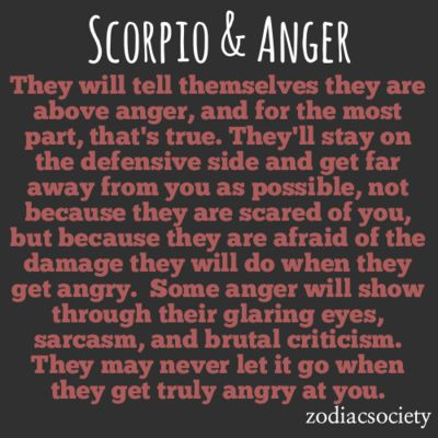 Scorpio & Anger: Fortified and Vicious. Yes, not afraid of you, afraid of what your actions will bring out in myself